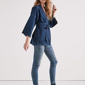 e2a45eb4d0f Lucky Brand Jackets   Coats - Lucky Brand Dark Knit Denim Kimono Wrap Jacket